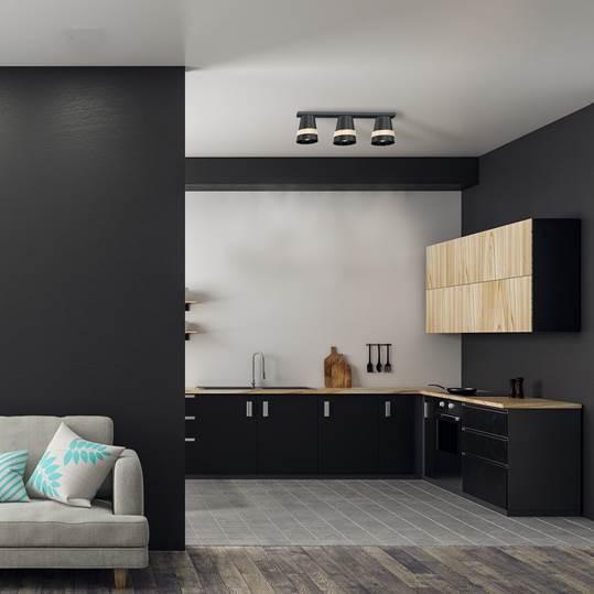 Obraz wnętrza domu z czarną lampą sufitową