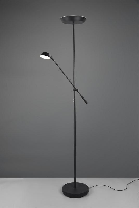 Lampa podłogowa czarna z regulowaną wysokością lampy głównej