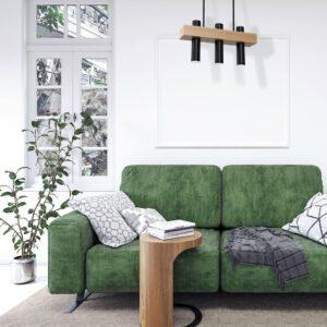 Widok salonu z wiszącą lampą w kolorze czarno-drewnianym