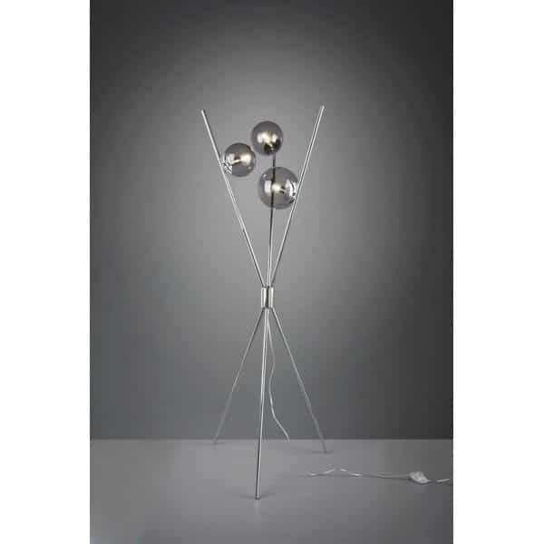 Lampa podłogowa, trójnożna w srebrnym kolorze