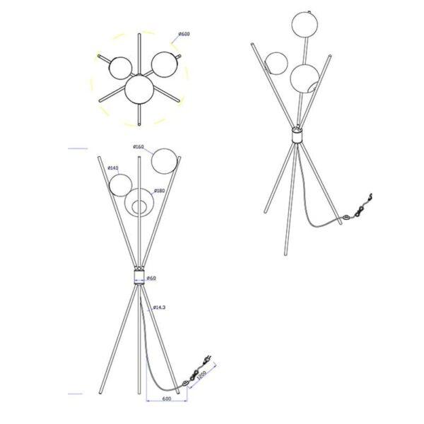 Schemat lampy trójnożnej wraz z jej wymiarami