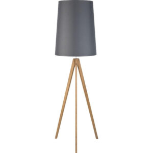 Lampa podłogowa z szarym abażurem i trzema nóżkami