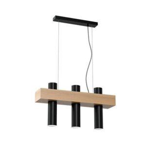 Lampa wisząca z elementem drewnianym i czarnym