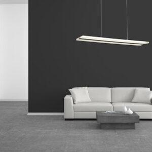 Pomieszczenie z wiszącą lampą o biało-czarnym kolorze