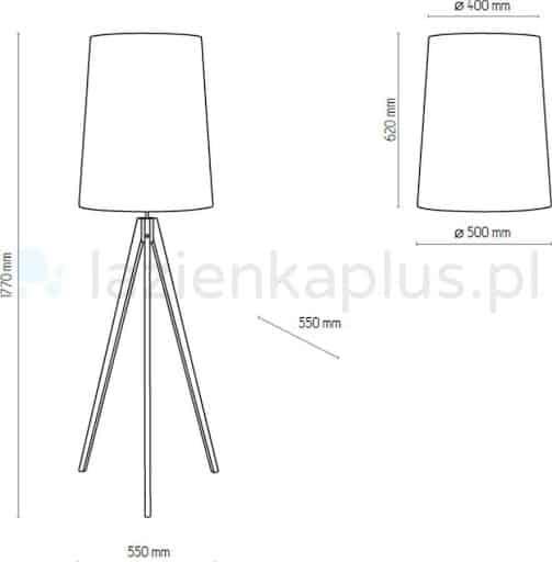 Schemat i wymiary lampy podłogowej, trójnożnej z abażurem